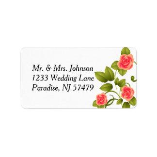 Korallenrote Rosen-Hochzeit Adressaufkleber