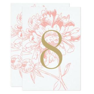 Korallenroter Blumenpfingstrosen-Entwurf der 8,9 X 12,7 Cm Einladungskarte