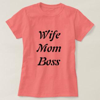 Korallenroter Ehefrau-Mamma-Chef-T - Shirt