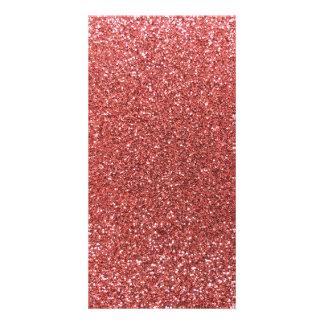 Korallenroter rosa Glitter Photogrußkarten