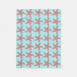 Korallenroter rosa Starfish-Licht-Türkis Fleecedecke