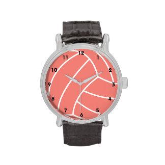 Korallenroter rosa Volleyball Armbanduhr