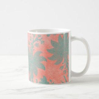 Korallenroter und aquamariner Damast-tropische Kaffeetasse