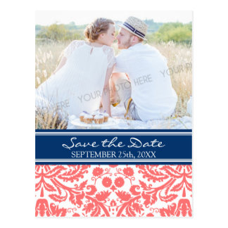 Korallenrotes blaues Foto Save the Date, das Postkarte