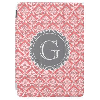 Korallenrotes Blumendamast-Muster-Grau-Monogramm iPad Air Hülle