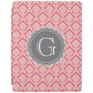 Korallenrotes Blumendamast-Muster-Grau-Monogramm iPad Hülle