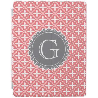 Korallenrotes Blumengitter-Muster-Grau-Monogramm iPad Smart Cover