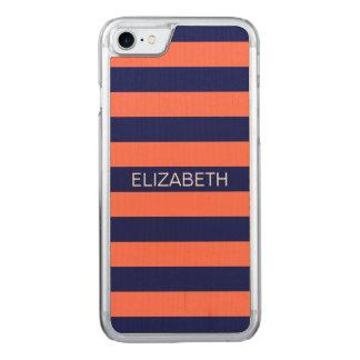 Korallenrotes Marine-Blau Horiz adrettes Carved iPhone 8/7 Hülle