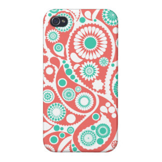 Korallenrotes Retro Paisley-Muster iPhone 4 Cover