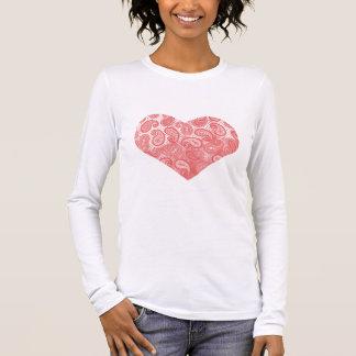 Korallenrotes rosa Paisley-Herz Langarm T-Shirt