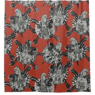 korallenrotes Rot des Schildkröte-Party Duschvorhang