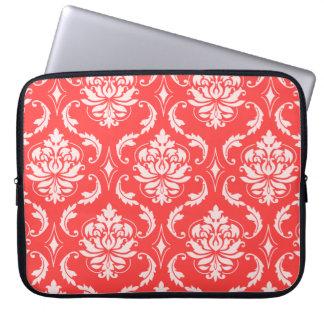 Korallenrotes rotes klassisches Damast-Muster Laptop Computer Schutzhülle