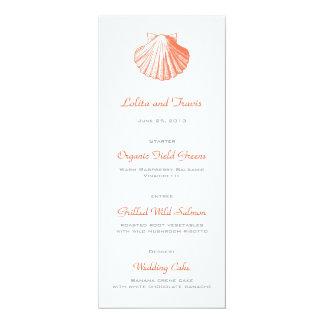 Korallenrotes SeeMuschel-Hochzeits-Menü-Karte 10,2 X 23,5 Cm Einladungskarte