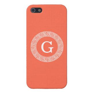 Korallenrotes weißes griechisches SchlüsselRnd iPhone 5 Case