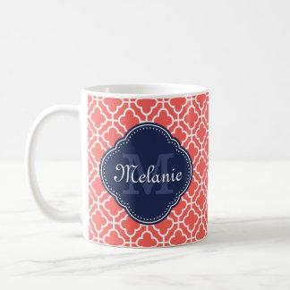 Korallenrotes weißes marokkanisches kaffeetasse