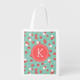Koralleund Aquachic-Vintages Blumendruck-Monogramm Wiederverwendbare Einkaufstasche