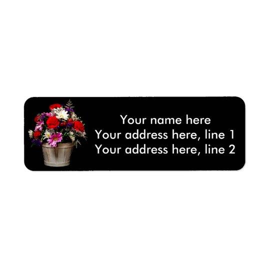 Korb der Blumen Rückversand-Adressaufkleber