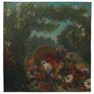 Korb der Blumen Serviette
