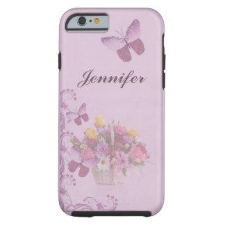 Korb der Blumen und der Schmetterlinge, Name Tough iPhone 6 Hülle
