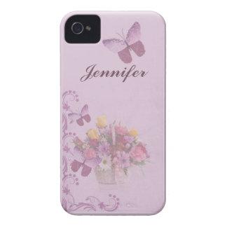 Korb der Blumen und der Schmetterlinge, Name iPhone 4 Case-Mate Hüllen