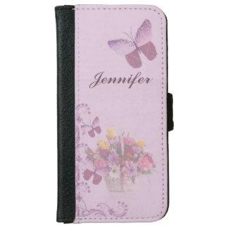 Korb der Blumen und der Schmetterlinge, Name iPhone 6 Geldbeutel Hülle