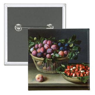 Korb der Pflaumen und Korb der Erdbeeren, 1632 Quadratischer Button 5,1 Cm
