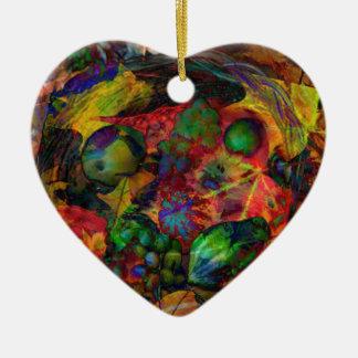 Korb mit Früchten und Herbstlaub Keramik Ornament