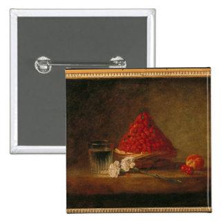 Korb mit Walderdbeeren, c.1761 Quadratischer Button 5,1 Cm