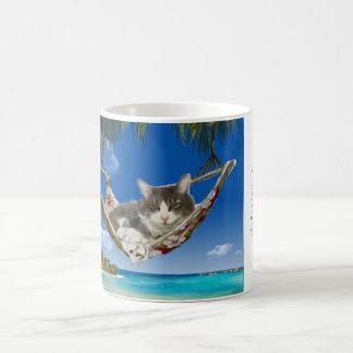 Kordsamt im karibischen (Katze in der Hängematte) Kaffeetasse