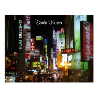 Korea beleuchtet Nacht Postkarte