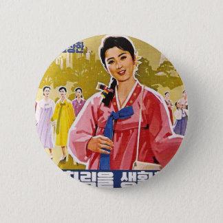 Koreanische Damen, die Hanbok tragen Runder Button 5,7 Cm