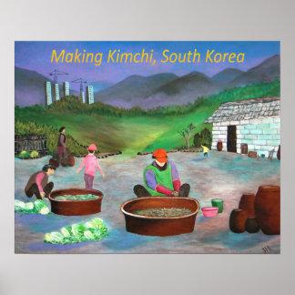 Koreanische Familie, die Kimchi 김치 macht Poster