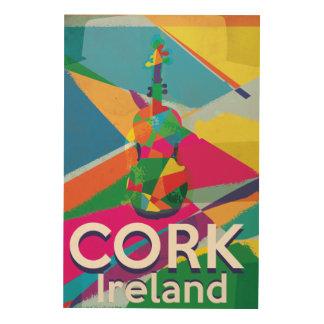 Korken, Vintages Reiseplakat Irlands Holzdruck