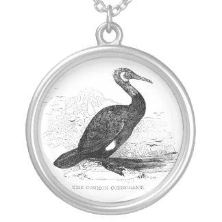 Kormoran-Vintages Vogel-Tier-Zeichnen Versilberte Kette