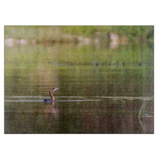 Kormoranvogel, der friedlich schwimmt schneidebrett