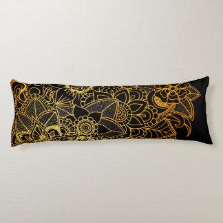 Körper-Kissen-Blumengekritzel-Gold G523 Seitenschläferkissen