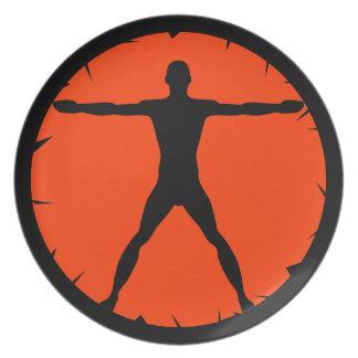 Körper-Verrücktheits-Fitness trägt großen Teller