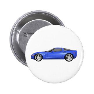 Korvette 2008: Sport-Auto: Blaues Ende: Runder Button 5,1 Cm