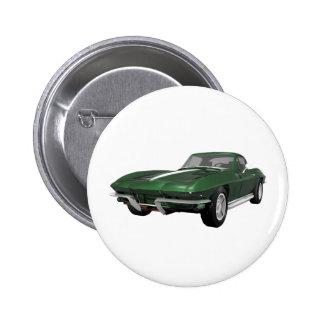 Korvette-Sport-Auto 1967 Grünes Ende Anstecknadelbuttons