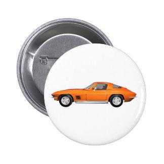 Korvette-Sport-Auto 1967 Orange Ende Anstecknadelbuttons
