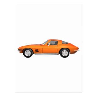 Korvette-Sport-Auto 1967: Orange Ende Postkarte
