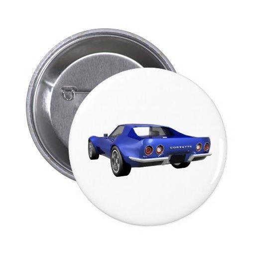 Korvette-Sport-Auto 1970: Blaues Ende Anstecknadel