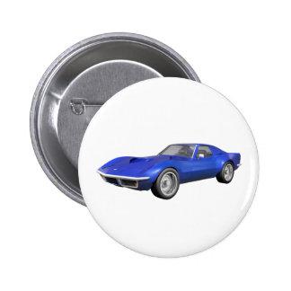 Korvette-Sport-Auto 1970: Blaues Ende Runder Button 5,7 Cm
