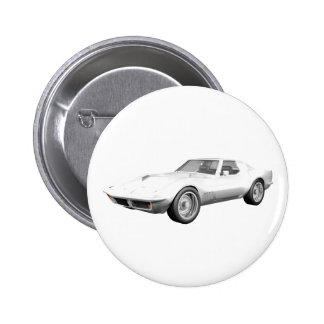 Korvette-Sport-Auto 1970: Weißes Ende Anstecknadelbutton