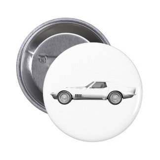 Korvette-Sport-Auto 1970 Weißes Ende Button