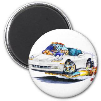 Korvette-Weiß-Auto 2005-10 Runder Magnet 5,1 Cm
