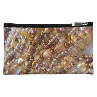 Kosmetischer Taschen-Erdton-Perlen-Druck Kosmetiktasche