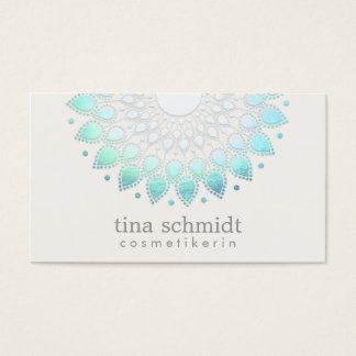 Kosmetologie Elegante Kreis Hellblau Weiß Visitenkarten