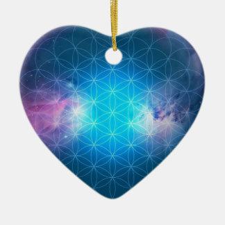Kosmische Blume des Lebens Keramik Herz-Ornament