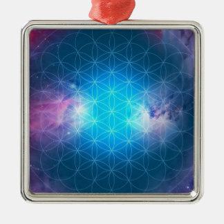 Kosmische Blume des Lebens Quadratisches Silberfarbenes Ornament